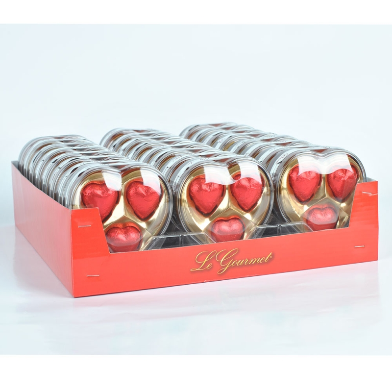 24g Heart shape vegan valentine's day chocolate package in heart box