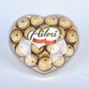 200g T16 chocolate date balls package in heart shape box