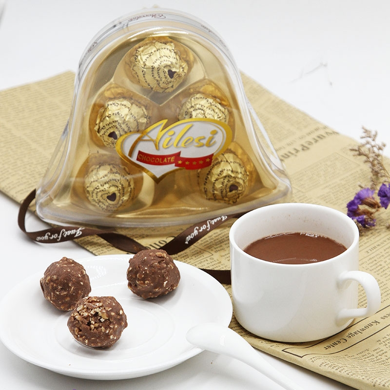 62.5g 5pcs bell shape milk chocolate covered pecans